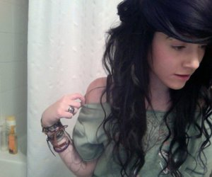 brunette, curly hair, and face image