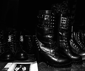 boots, rock, and black image