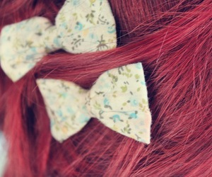 bow, hair, and red hair image