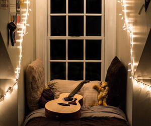 room, guitar, and bedroom image