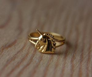 ring, unicorn, and gold image