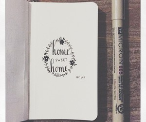 drawing, floral, and home image