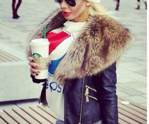 beanie, drinks, and fur image