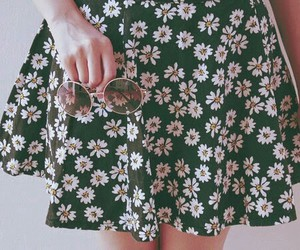 flowers, pale girl, and skirt image