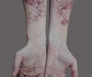 floral, inked, and pale image