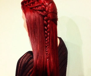 hair, braid, and red image
