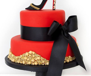 black, red, and cake image