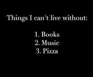book, pizza, and music image