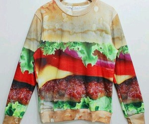 sweater, burger, and food image
