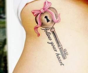 tattoo, key, and heart image