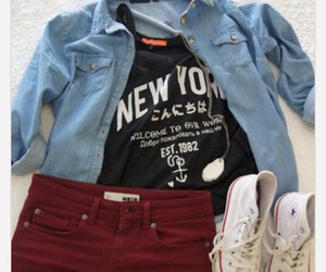 combination, red shorts, and converse image