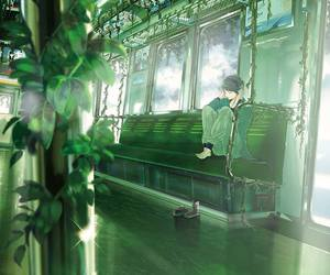 anime, art, and green image
