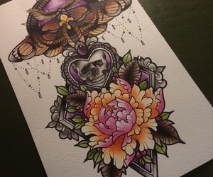 art, illustration, and skull image