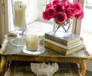 candle, books, and rose image