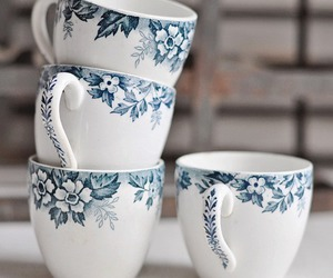 cup, flowers, and blue image