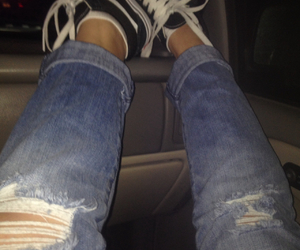 car, clothes, and ripped jeans image