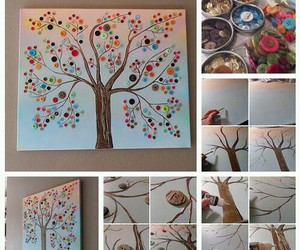 diy, buttons, and tree image