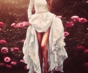 dress, white, and flowers image