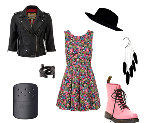 dr martens, dress, and earrings image