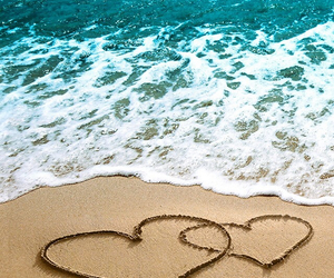 beach, heart, and sea image