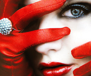 red, lips, and gloves image