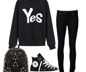 black, outfit, and yes image