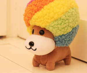 toy, Afro, and rainbow image