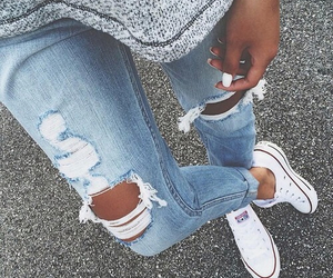 allstars, grey, and jeans image
