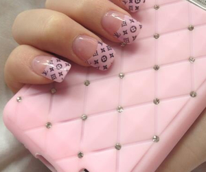 nails, pink, and Louis Vuitton image