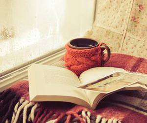 blanket, book, and tea image