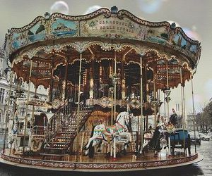 carousel, vintage, and fun image
