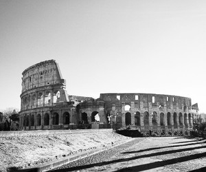 ancient, arena, and black and white image