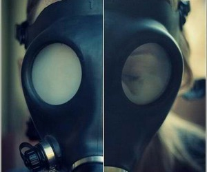 smoke, weed, and gas mask image