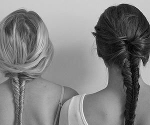 fishtail, hair, and girsl image