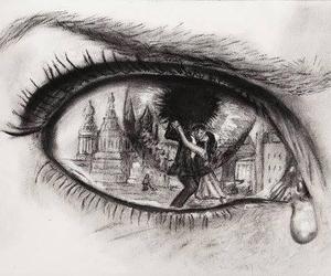eye, sad, and drawing image