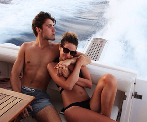 boat, couple, and water image