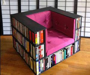 book, chair, and pink image