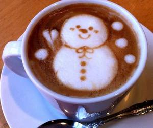 coffee, snowman, and art image