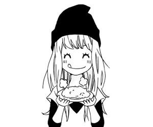 cute, anime girl, and black and white image