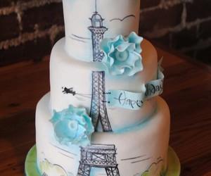 cake, paris, and flowers image