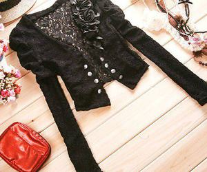 bag, lace, and black image