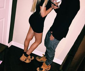 couple, timberland, and love image