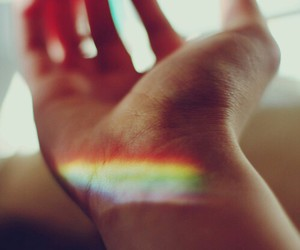 rainbow, hand, and vintage image