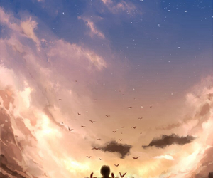 bird, start, and clouds image