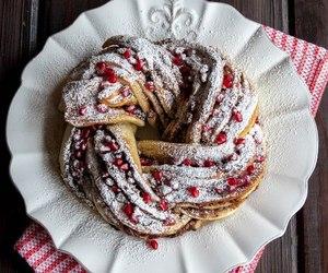 food, pomegranate, and cake image