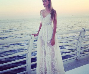 dress, sea, and lace image