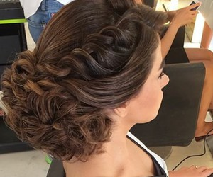 chignon, curl, and hair image