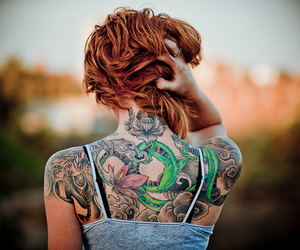 bokeh, red hair, and tattoo image