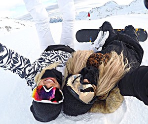 blonde, girls, and snowboard image