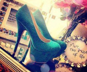 shoes, blue, and high heels image
